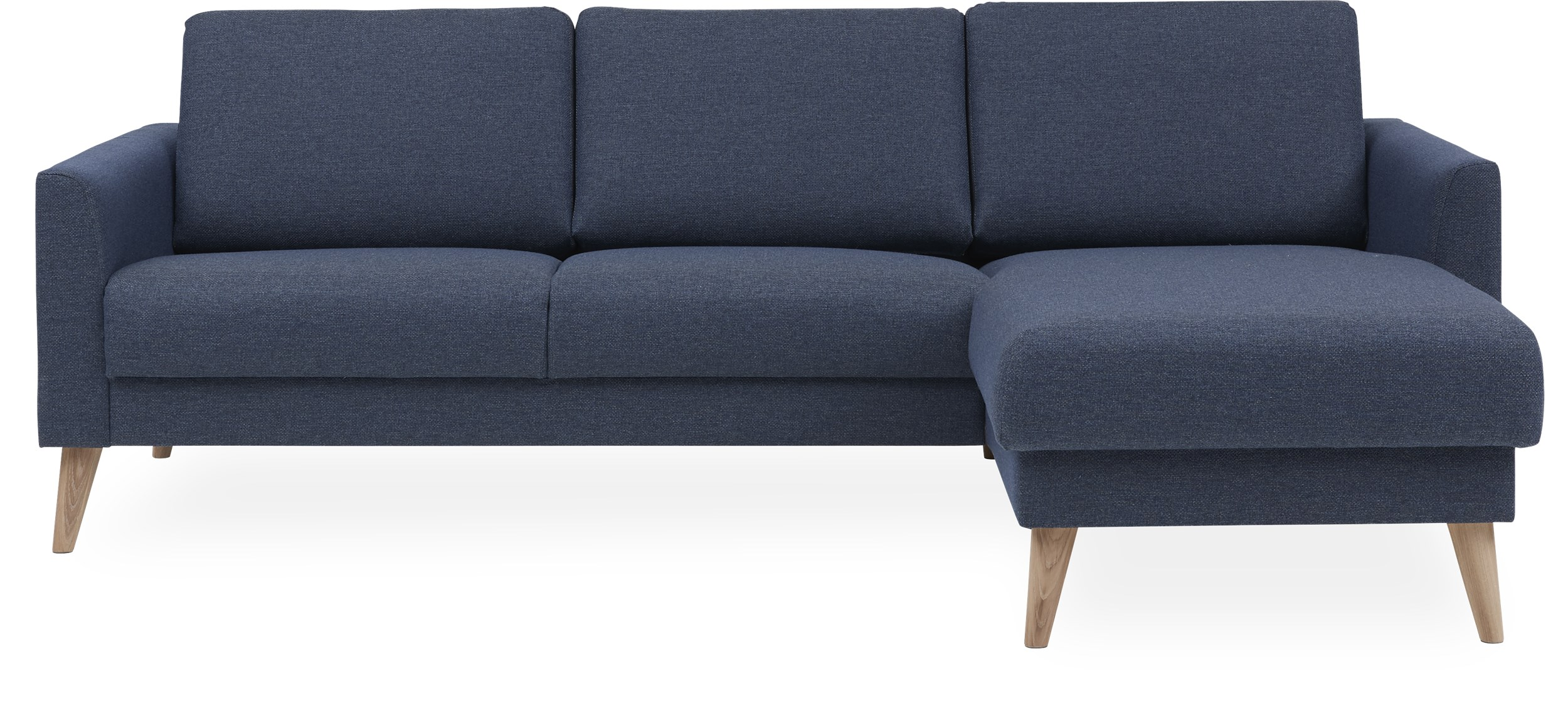 Lotus Sofa med chaiselong - Golf Blue stof og ben i hvidolieret eg
