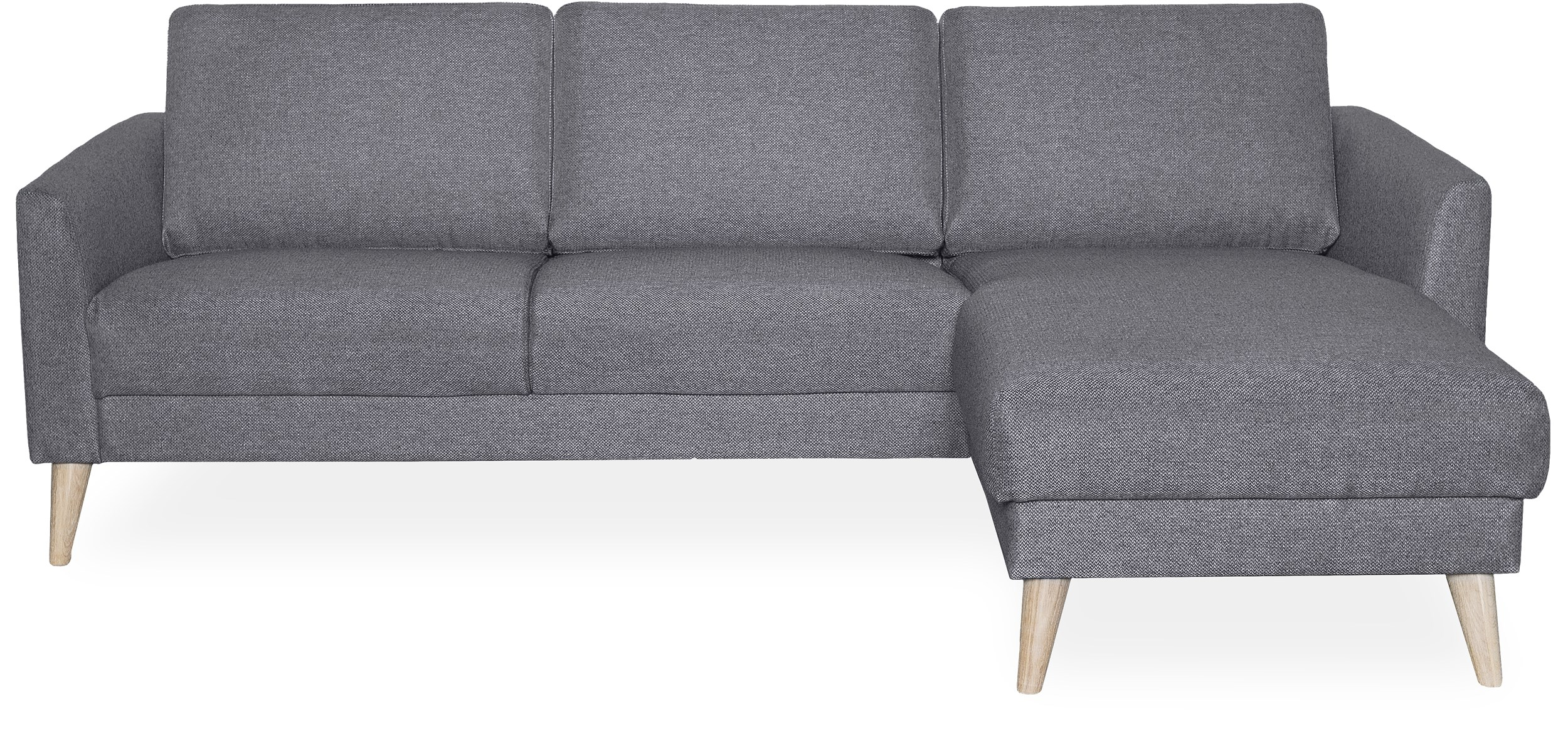 Lotus Sofa med chaiselong - Golf Grey stof og ben i hvidolieret eg