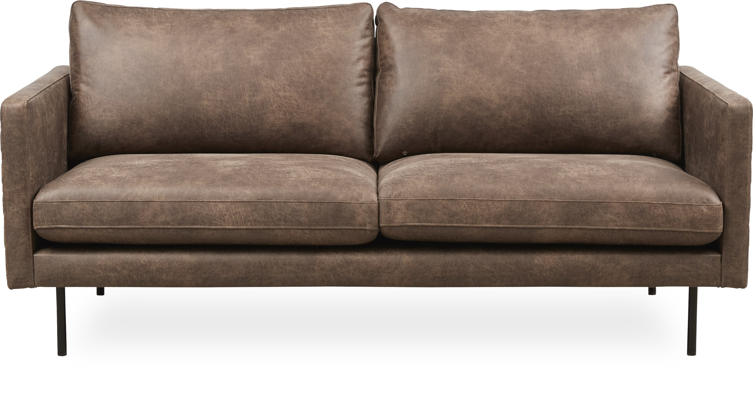 Sicilia 2 pers. Sofa - Colorado 4 Brown bonded læder og ben i sort metal