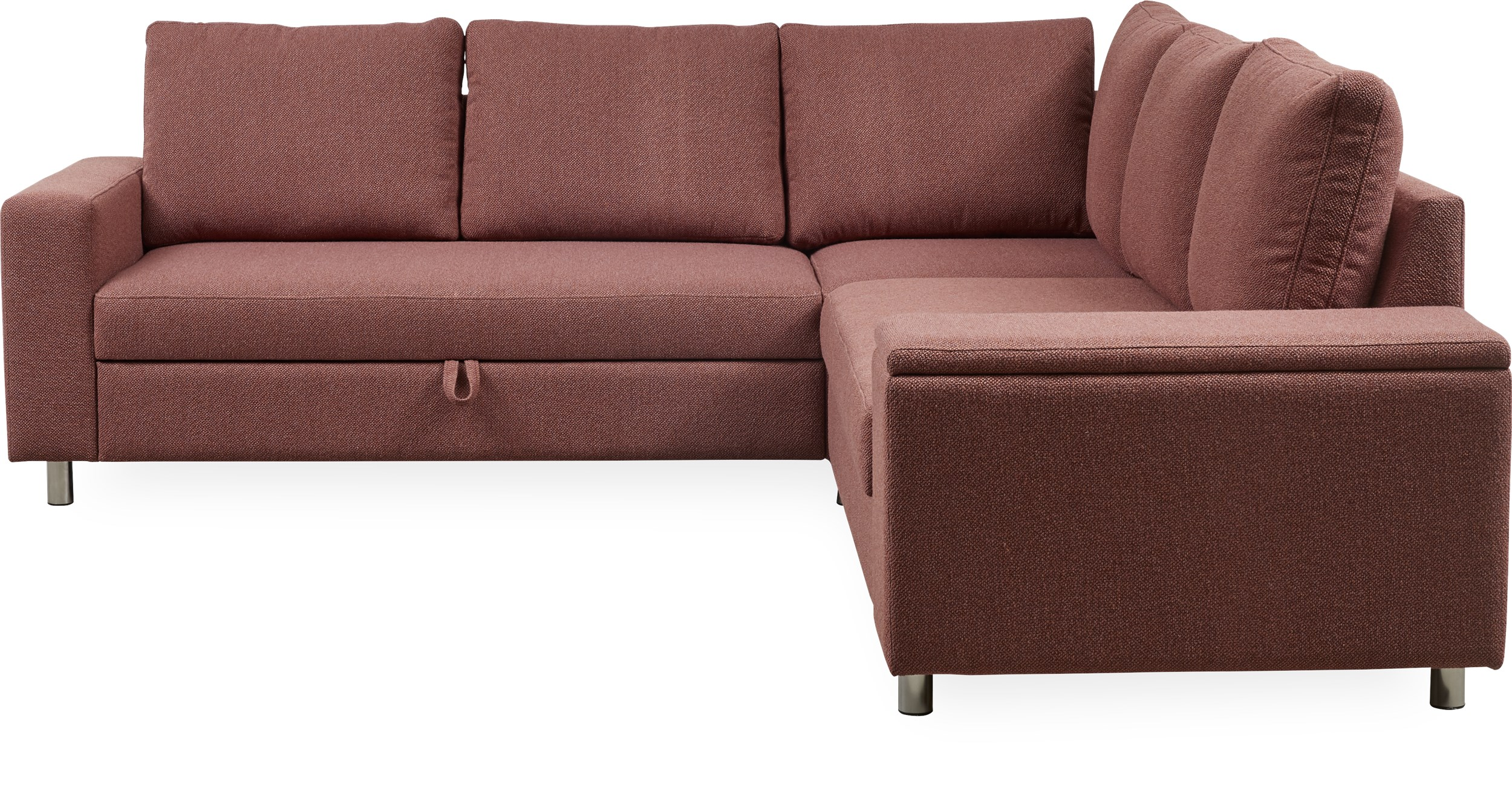 Devon Flex 550 Sovesofa - Tamini 420 Earth red stof, Armlæn 3+1 og S: Pocket R: Dun/fiberkugler