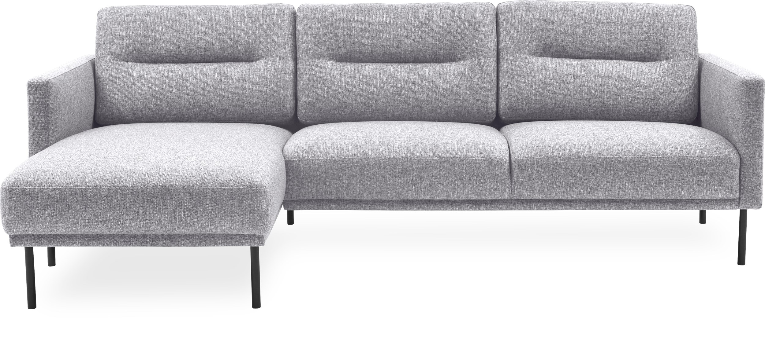 Larvik Sofa med chaiselong - Hampton 372 Light grey stof og ben i sortlakeret metal