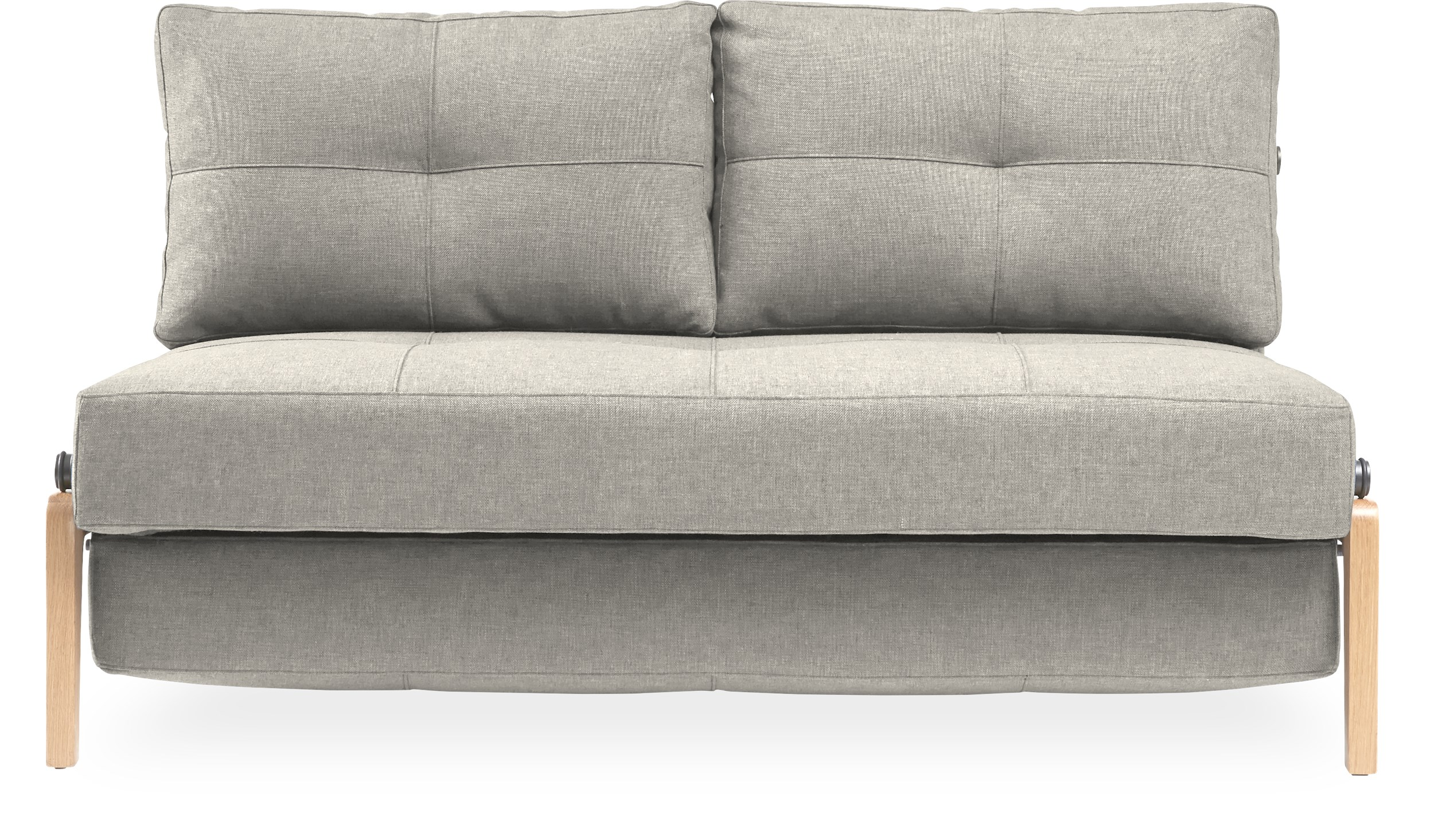 Innovation Living - Cubed Wood Sovesofa - Linen 612 Sand Grey stof og ben i massiv lakeret eg