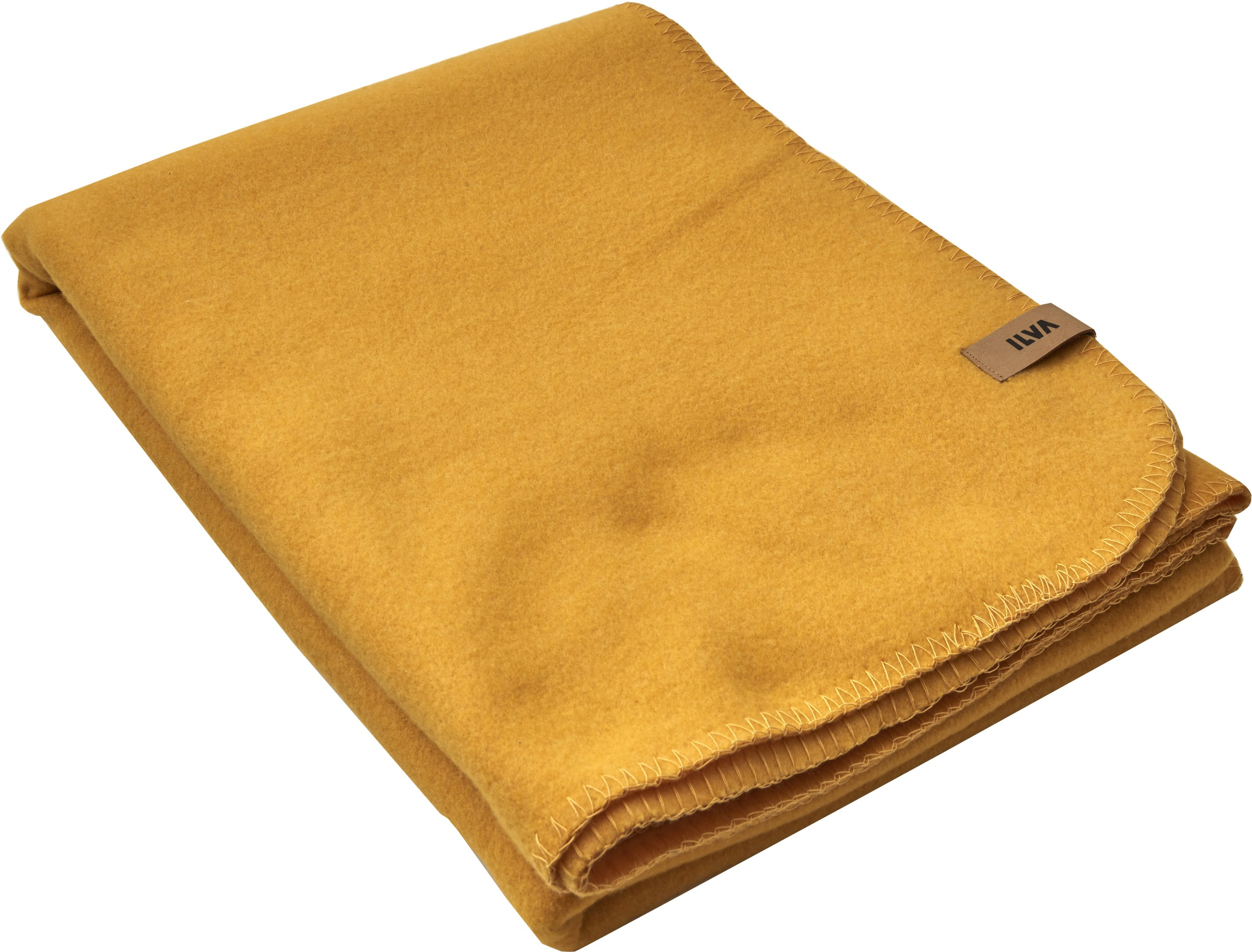 Fleece Plaid 140 x 200 cm - Mustard Yellow polyester