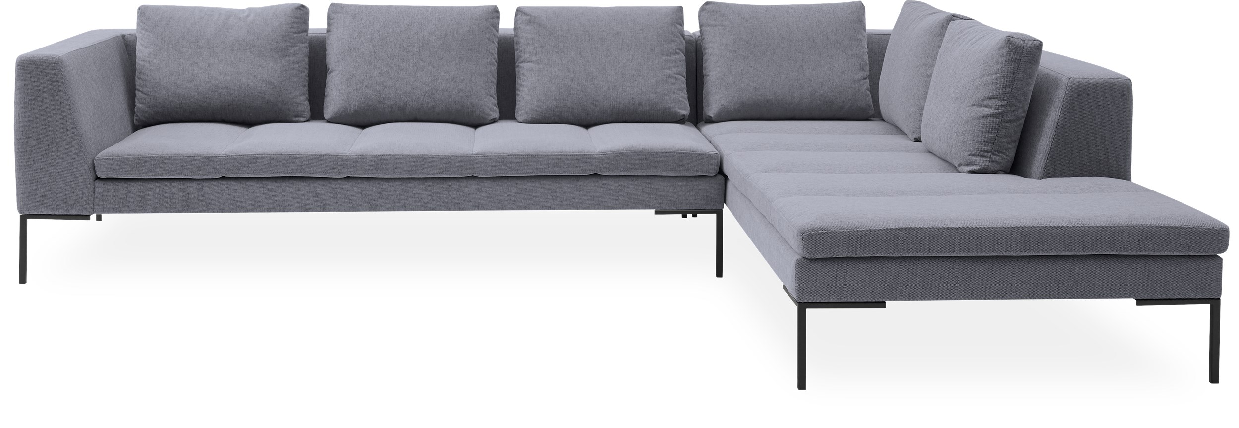 Mirano Hjørnesofa med pufafslutning - Copparo 1461 Light Grey stof og ben i sort metal
