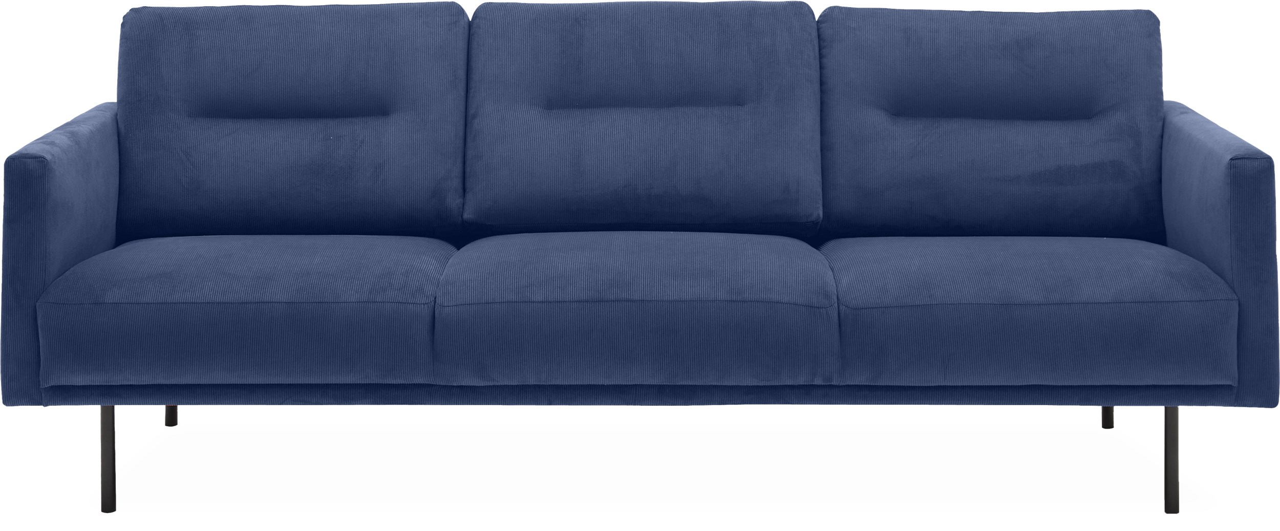 Larvik 3 pers Sofa - Wave 220 Royal blue stof og ben i sortlakeret metal