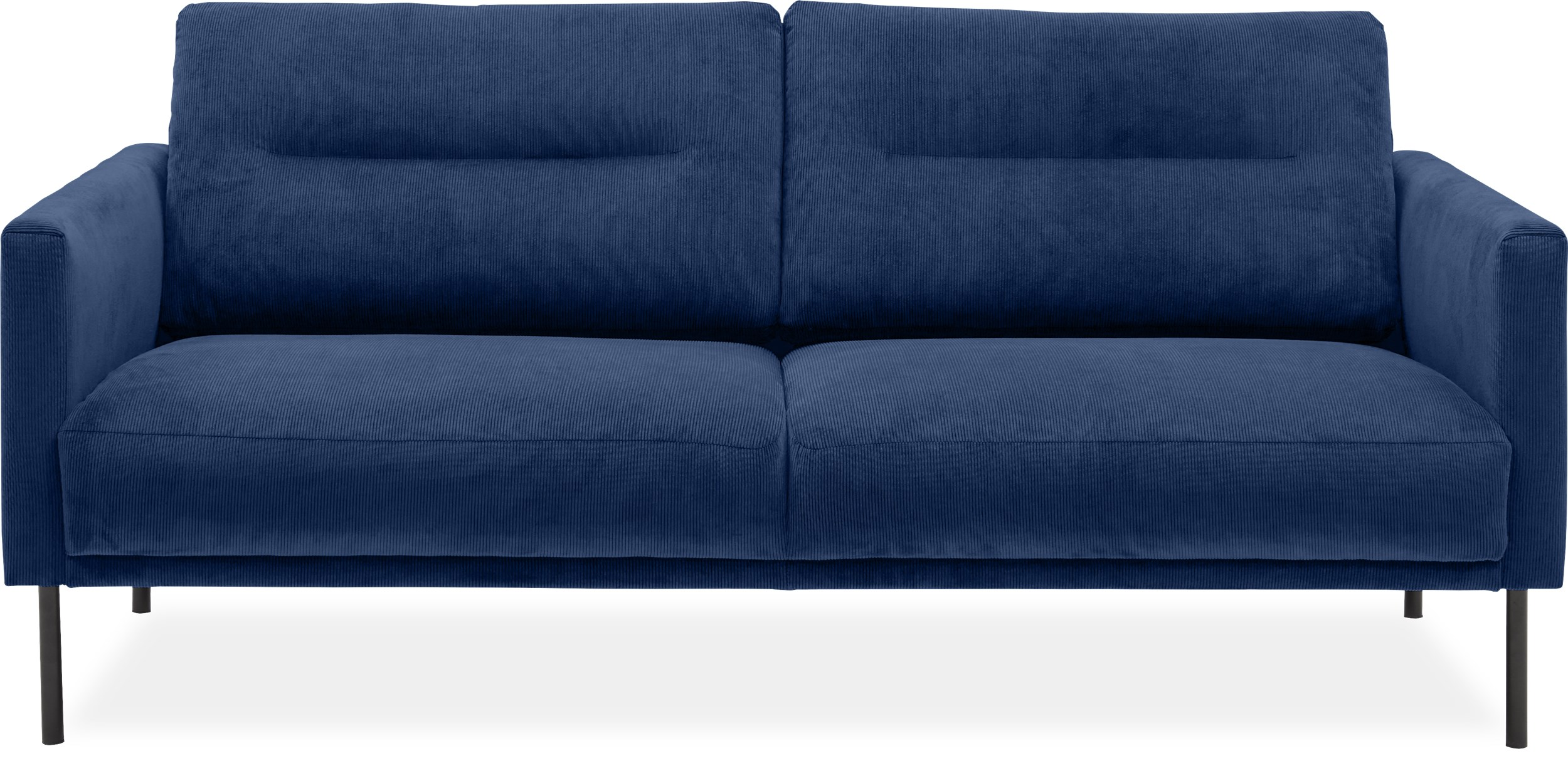 Larvik 2½ pers. Sofa - Wave 220 Royal blue stof og ben i sortlakeret metal