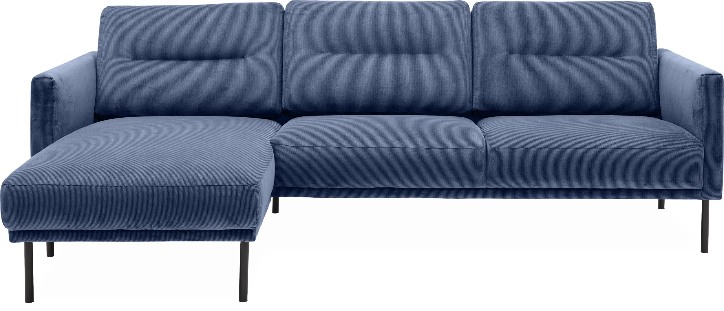 Larvik Sofa med chaiselong - Wave 220 Royal blue stof og ben i sortlakeret metal