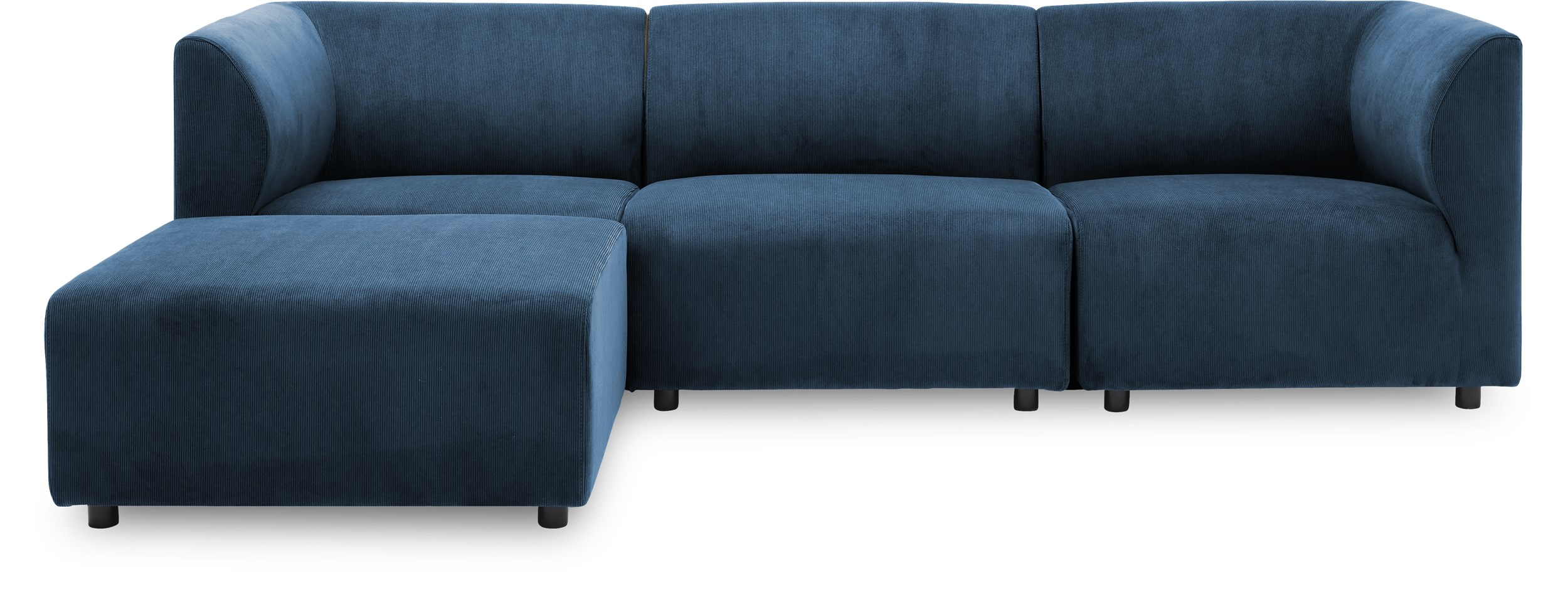 Divani 3 pers. inkl. puf Sofa - Wave 220 Royal blue stof og ben i sort plast