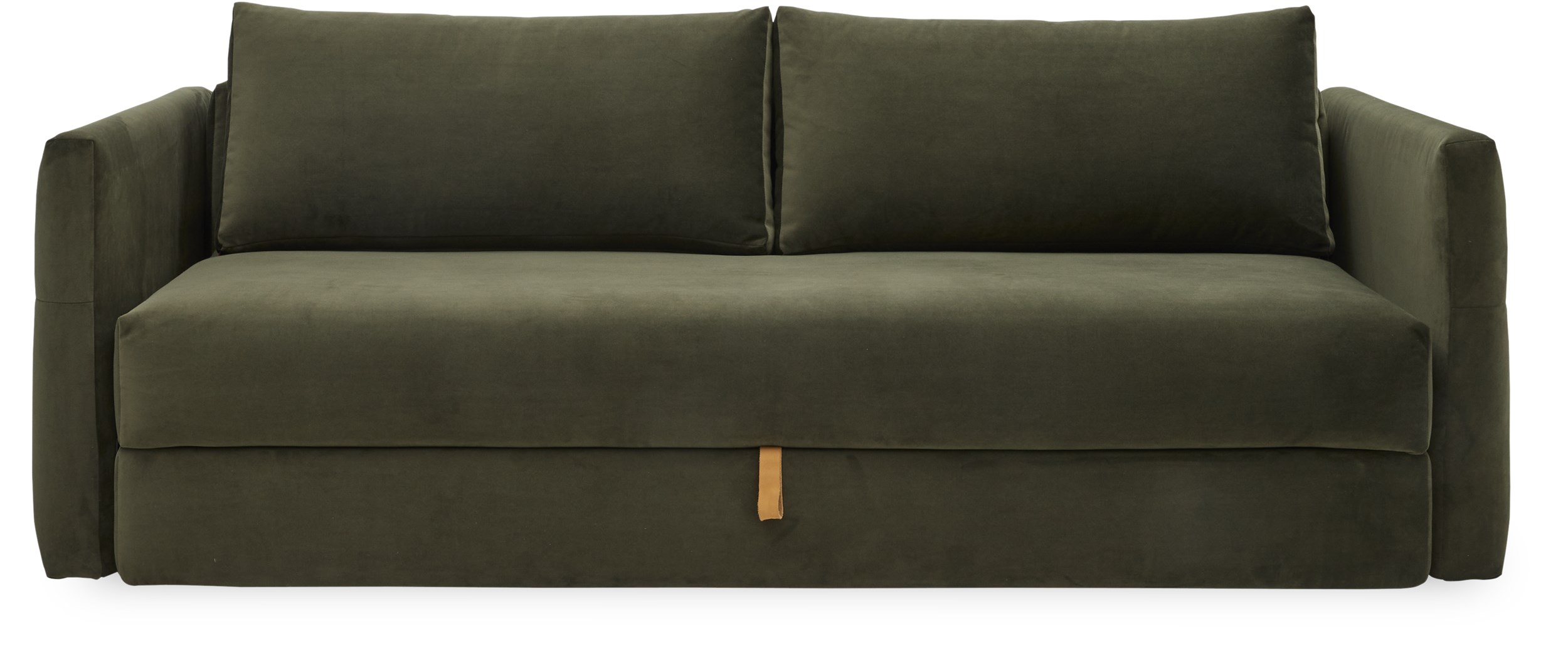 Innovation Living - Mannus Sovesofa - Velvet 547 Army, pocketspring/hypersoft skummadras og magasin med læderstrop