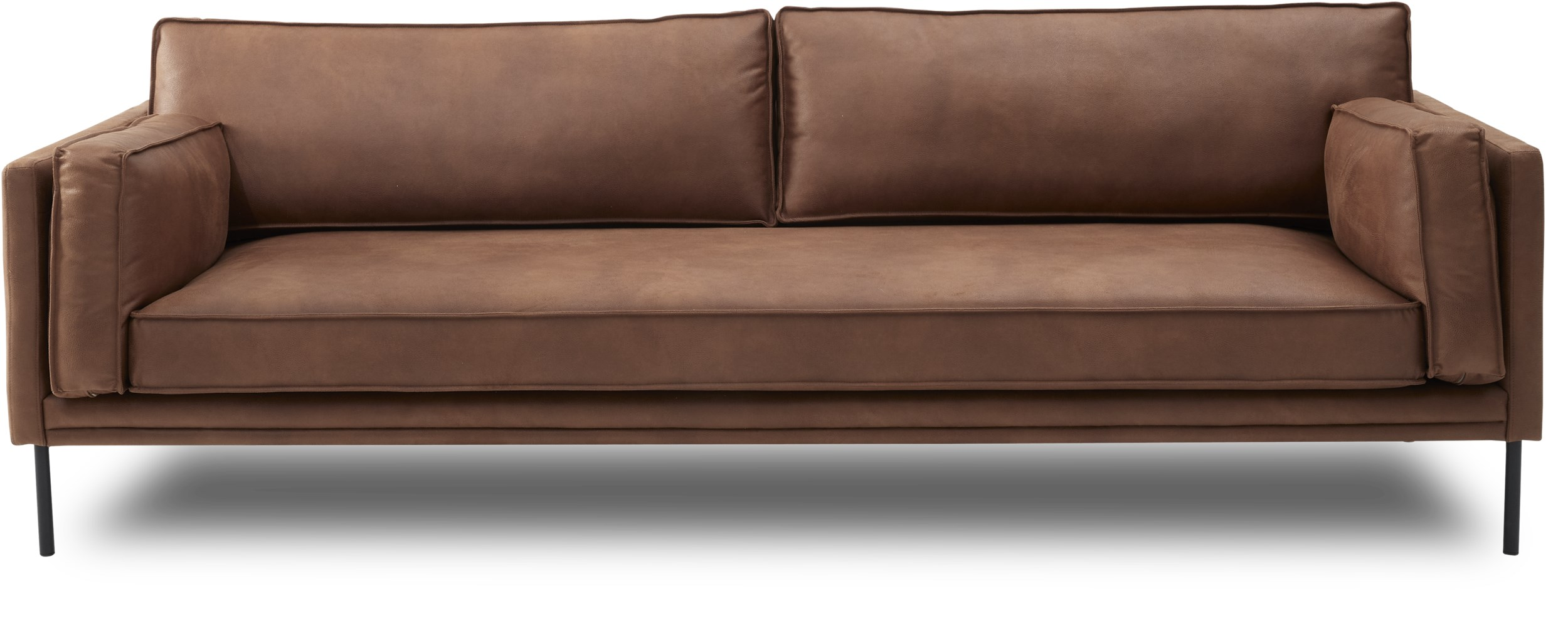 Keep 3 pers Sofa - Kentucky 0261 Cognac bonded læder og ben i sort metal