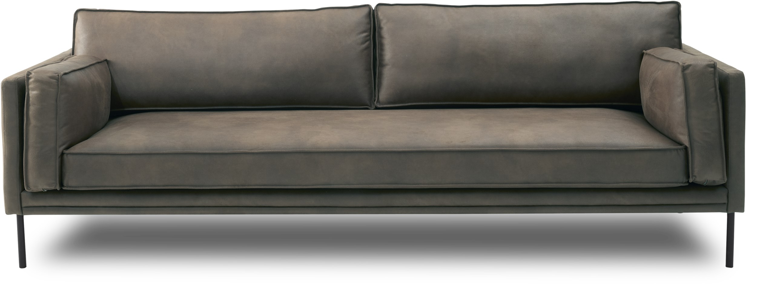 Keep 3 pers Sofa - Kentucky 0262 Grey bonded læder og ben i sort metal