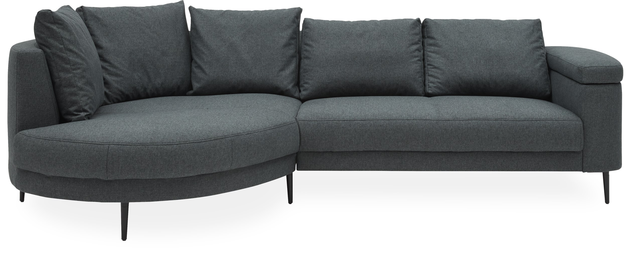 Monza Sofa med chaiselong - Firenze 0151 Steel grey stof og ben i sort metal