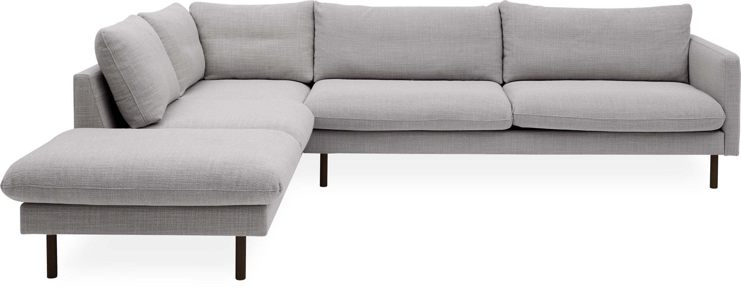 Bjorn Sofa med pufafslutning - Melina 1240 Grey breeze stof og ben i sort metal