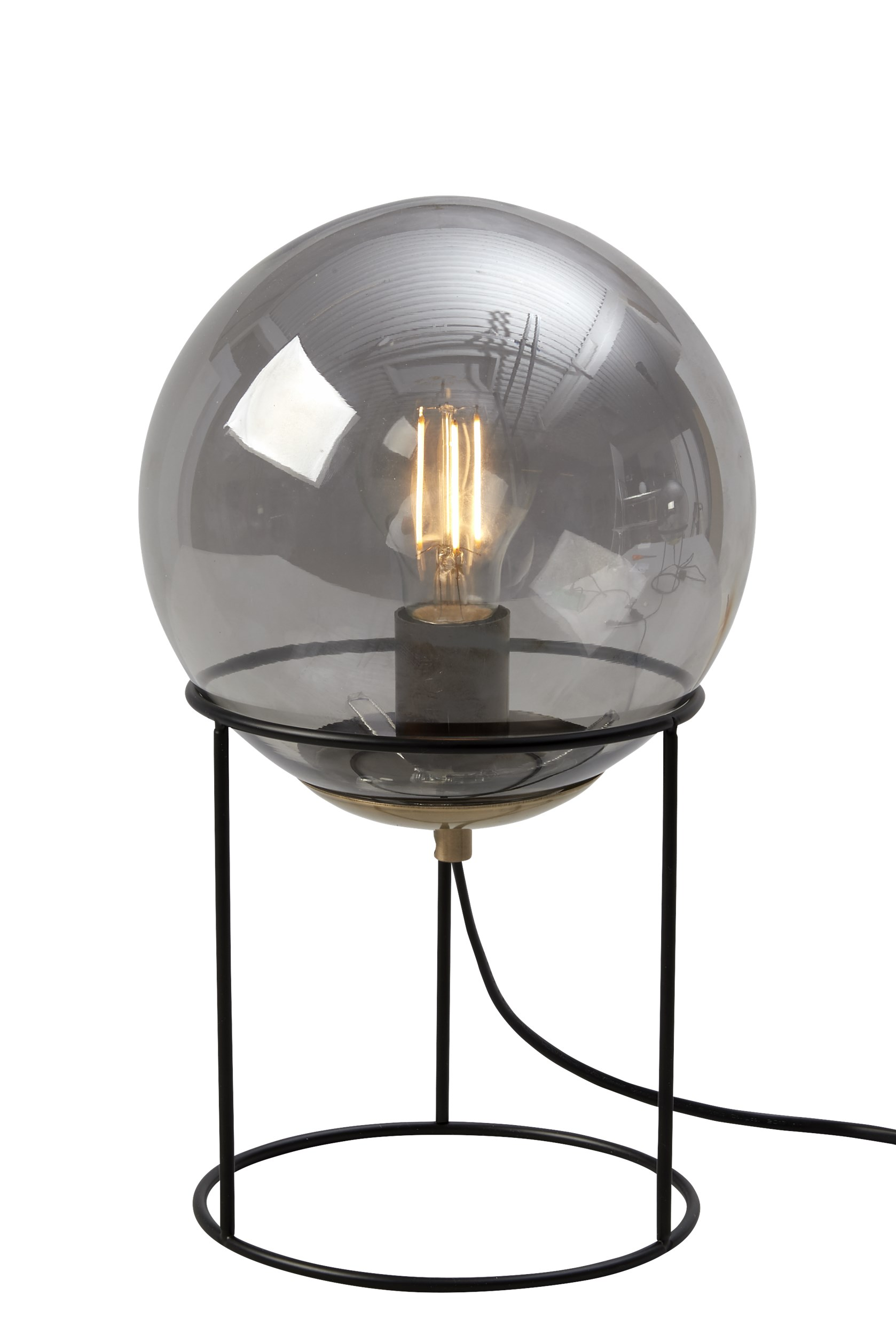 Moon Bordlampe 34 x 20 cm - Sort metalstel, smoke glasskærm og sort ledning